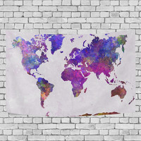 Red Purple Watercolor World Map Tapestry Wall Hanging Abstract Art Splatter Painting Home Decor