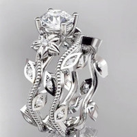 The Perfect Museum 2CT Round Cut Russian Lab Diamond Engagement Promise Wedding Floral Ring Bridal Set