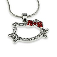 Open Face Cat Red Iced Out Crystal Bow Pendant Necklace Gift for Hello Kitty Fan