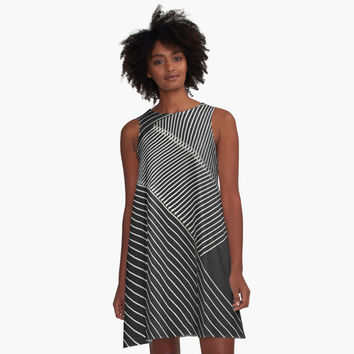 'Line Art - Geometric Illusion, abstraction no. 2' A-Line Dress by cool-shirts