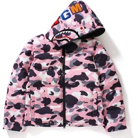 WARM UP CAMO SHARK HOODIE DOWN JACKET LADIES