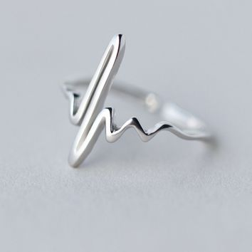 Fashion heart beat 925 Sterling Silver opening ring, a perfect gift