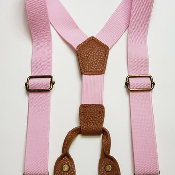 Faux Leather Accented Suspenders