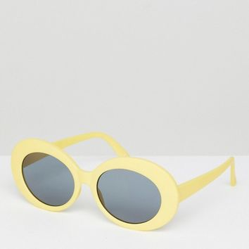 ASOS Oval Sunglasses In Yellow at asos.com