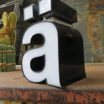 Neon Channel Sign Letter Lowercase 'A' with Umlaut / Diaeresis: Small White & Black Reclaimed Industrial Salvage Advertising Marquee Initial