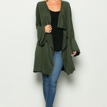 Sweet Mello Double Bell Sleeve Suede Jacket