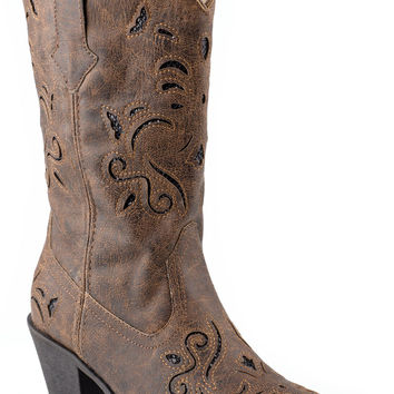 Roper Ladies Fashion Western Faux Leather Boots Vintage Snip Toe W Glitter Underlay