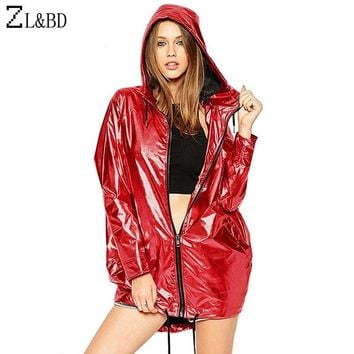 ZL&BD jaquetas femininas Metallic Color Bomber Jacket Womens Outerwear Hooded Autumn Coat Femme Zip up Waterproof Jacket ZA386