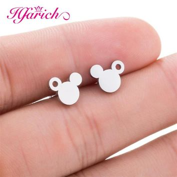 Hfarich Simple Cute Mickey Earrings Silver Tiny Mouse Children Stud Earring Women Stainless Steel Animal Jewelry Girl Kids Gift