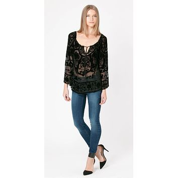 Scoop Neck Silk Velvet Blouse