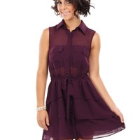 Button Down Chiffon Dress With Back Lace