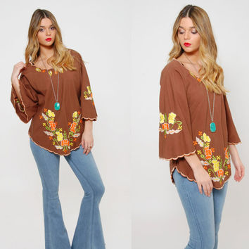 Vintage 70s EMBROIDERED Peasant Top Mocha FLORAL Top Bell Sleeve Hippie Tunic FESTIVAL Boho Top