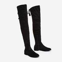 Arlo Over The Knee Long Boot In Black Faux Suede