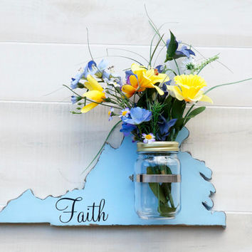 Virginia or any US state shape wood cutout sign mason jar wall art vase. Faith, Hope, Love or Family.  Wedding Country Chic Gift Decor