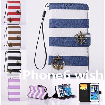 "NEW Stripes Anchor Luxury PU Leather Card Wallet Phone Case Bag Cover Skin For Apple iPhone 6 4.7""/iPhone 6 Plus 5.5"" = 1705289924"