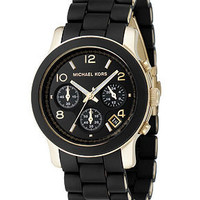 Michael Kors Watch, Women's Chronograph Runway Goldtone Stainless Steel and Black Polyurethane Bracelet 38mm MK5191 - All Watches - Jewelry & Watches - Macy's