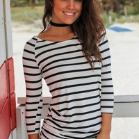 Black and White Striped Ruched Tunic with 3/4 Sleeves