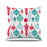 "KESS Original ""Mixed Ornaments Red"" Blue Outdoor Throw Pillow"