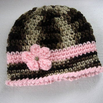Baby Girl Hat, Crochet Soft Pink and Camo, Crochet Flower, Baby Hat, Baby Beanie, Photo Prop Everyday Cute