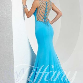 Beaded Open Back Tiffany Dress 16099