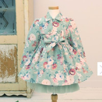 """Pre-order: The """"Abigail"""" Floral Princess Girls Trench Coat in Green"""