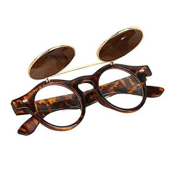 Hot Sale Steampunk Goth Glasses Goggles Round Flip Up Sunglasses Women Men Retro Vintage Fashion Eyewear Oculos de sol MAY2