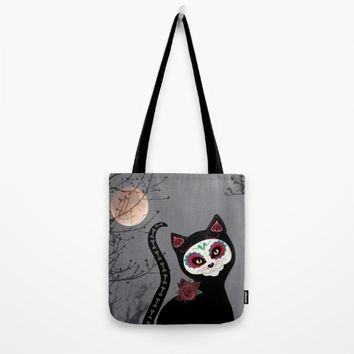 Day of the Dead Cat Tote Bag by UMe Images