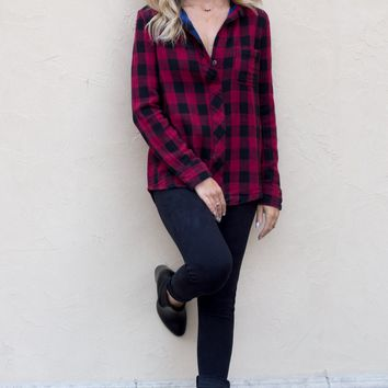 The Bottom Line Red Flannel Plaid Top by Vintage Havana
