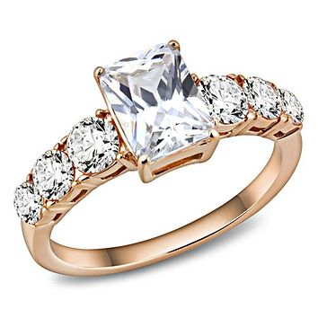 14K Rose Gold 1.8CT Emerald Cut Russian Lab Diamond Engagement Ring
