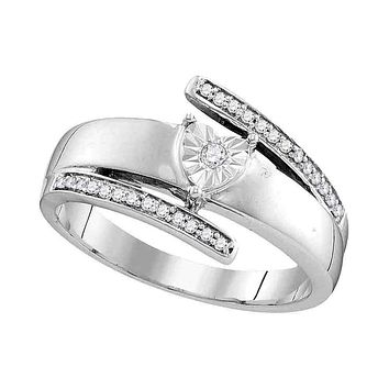 14kt White Gold Womens Round Diamond Solitaire Promise Bridal Ring 1/10 Cttw - FREE Shipping (US/CAN)