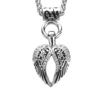 """Ladies Angel Wing Bling Pendant 19""""  Necklace Stainless Steel Biker Jewelry"""
