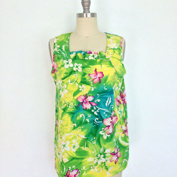 1960s Hawaiian Blouse / 1960s 1970s Neon Tropical Print / Floral Shirt / Sleeveless Summer / Size Small S