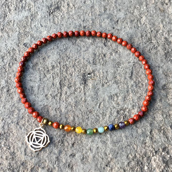 Root Chakra Anklet, Chakra Gemstones and Red Jasper Anklet