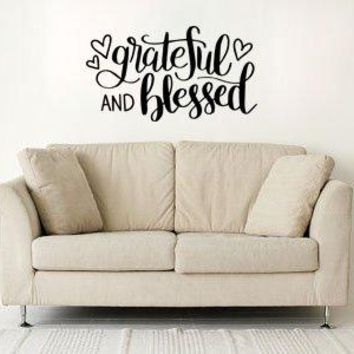 "Lucky Girl Decals Grateful and Blessed 22.4"" w x 12.5"" h Vinyl Wall Decal Sticker Decor"