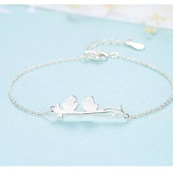 S925 sterling silver bracelet fashion simple bird lady bracelet silver jewelry LB19