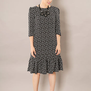 Black classic modest A - line dress with little bows print
