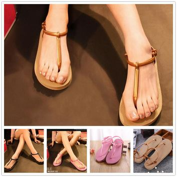 Fashion Women Summer simple Flat Jelly Shoes Beach Sandals Slippers Flip Flops
