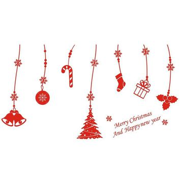 Christmas Window Stickerst Wall PVC Hanging Snowflakes Bells Tree Vinyl Ar Decorative Crafts Gadgets Party Supplies