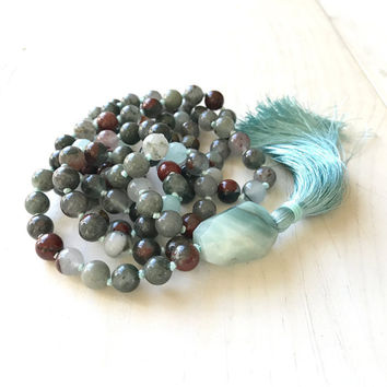 Mala For Courage, Bloodstone Mala Beads, Amazonite Nugget Guru Bead, Revitalize And Energize Mala, Healing Mala Necklace, Natural Healing