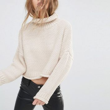 Moon River Knitted Crop Sweater at asos.com