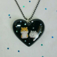 Sleeping Hamsters at Night with Stars in the Sky, Cute, Pastel Goth, Lolita, Kawaii, Adorable, Black, Resin, Pendant,  Necklace