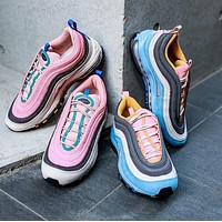 Nike Air Max 97 Corduroy color blocking bullet running shoes