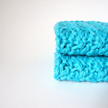 Crochet Washcloths Bright Turquiose Eco Friendly by MyHobbyShop