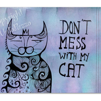Sassy cat decor,original drawing,Typo art,8.26 x 5.82 inches,doodle art