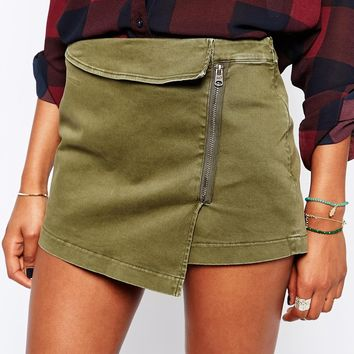 Abercrombie & Fitch Military Zip Skort