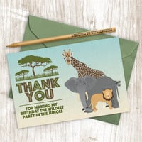 Safari Thank You Card, Printable Jungle Animal Thank You Cards, Elephant Lion Giraffe Cards, Digital Safari Animal Birthday Party Cards 4x6