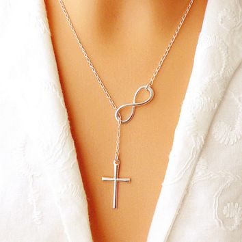 TOMTOSH Lovely infinity crosses on a long silver chain necklaces FREE SHIPPING!!!!