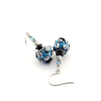 Earrings Blue, Gray and Black Bumpy Flower Lampwork