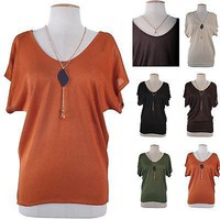 Sexy Draped Sleeve Dolman Tunic Lurex T-Shirt Top Loose Fit Blouse