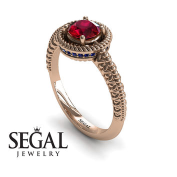 Unique Engagement Ring 14K Red Gold Vintage Art Deco Victorian Ring Edwardian Ring Filigree Ring Ruby With Sapphire - Penelope